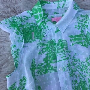 Vintage Lilly Pulitzer blouse French county dots